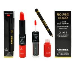 помада+блеск+карандаш CHANEL Rouge 3 IN 1 3.8g 10g тон №10