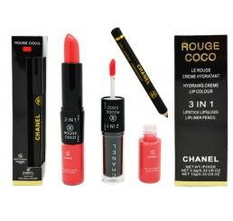 помада+блеск+карандаш CHANEL Rouge 3 IN 1 3.8g 10g тон №5