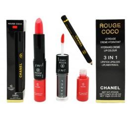 помада+блеск+карандаш CHANEL Rouge 3 IN 1 3.8g 10g тон №8