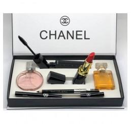 Набор CHANEL 5 в 1  (2 парфюма по 15 мл, помада, тушь и карандаш) в подарочной упаковке